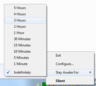 Pre-configured Stay Awake Durations from System Tray Menu of Stay Awake Software Utility